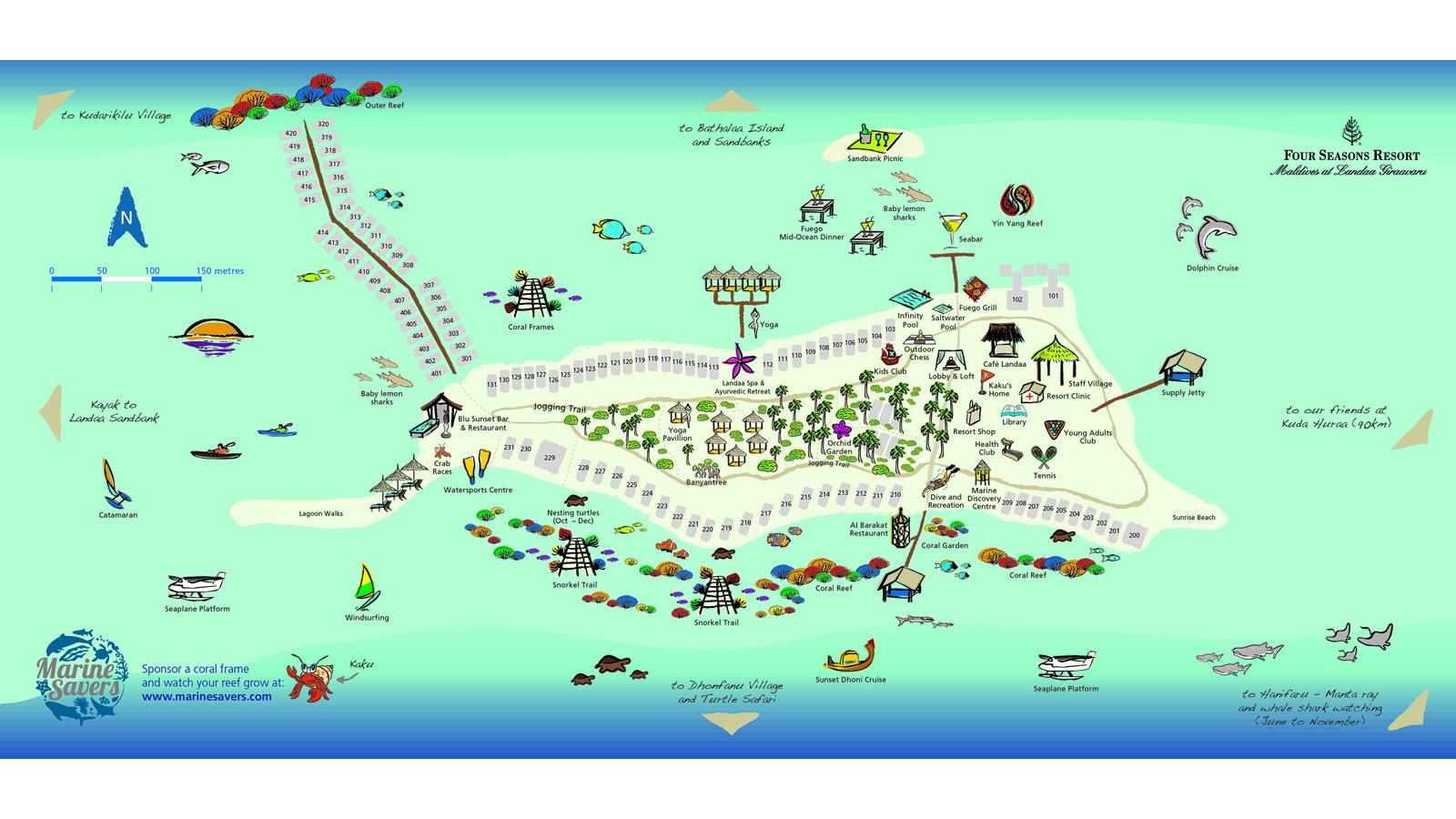 Maldives Resort Map Four Seasons Resort at Landaa Giraavaru