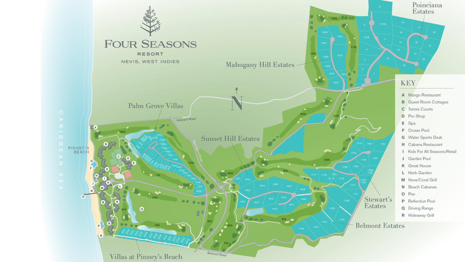 Resort Map of Four Seasons Resort Nevis