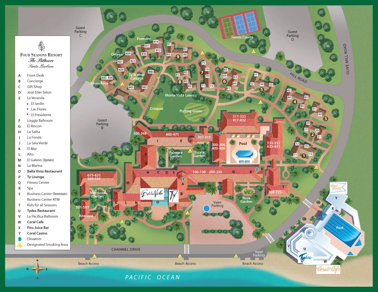Santa Barbara Resort Map – Santa Barbara Tourist Map