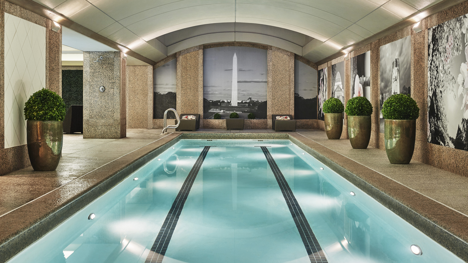 To yourself at four seasons hotel washington dc set beneath a soaring skylight in the vaulted ceiling is a private luxury two lane indoor saline pool