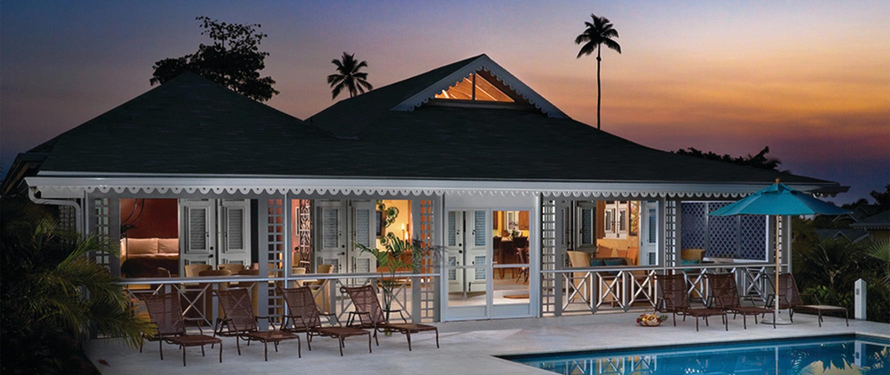 Pool Deck/Spa Exterior at Sunset