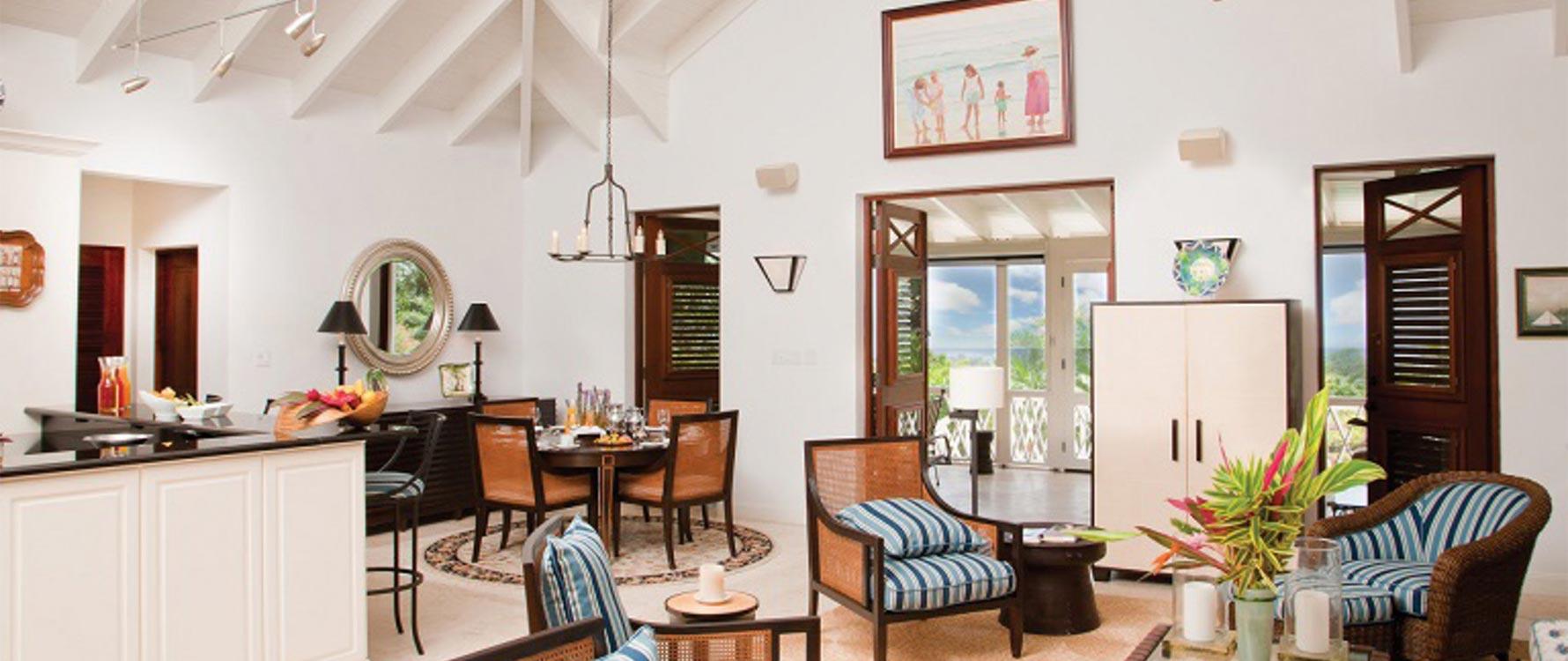 Living room/interior dining wide shot