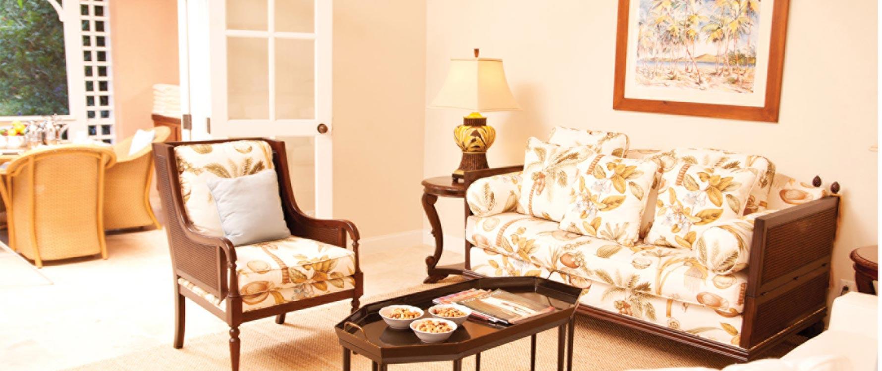 Living room with veranda view