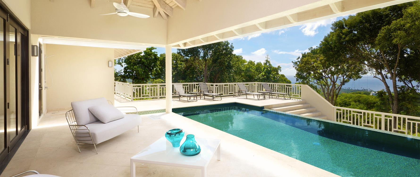 Covered pool deck seating area
