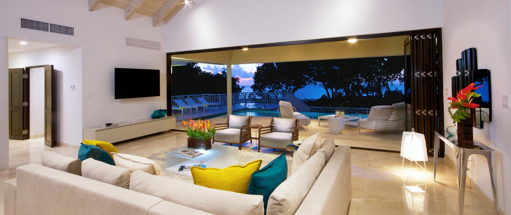 Living room opened to pool deck