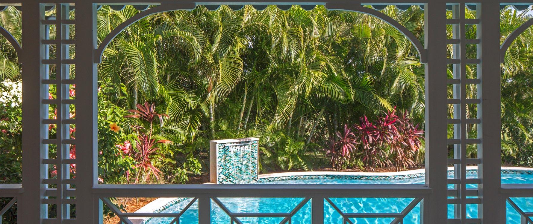 View of pool from screened veranda