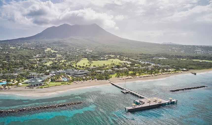 Aerial shot of Nevis